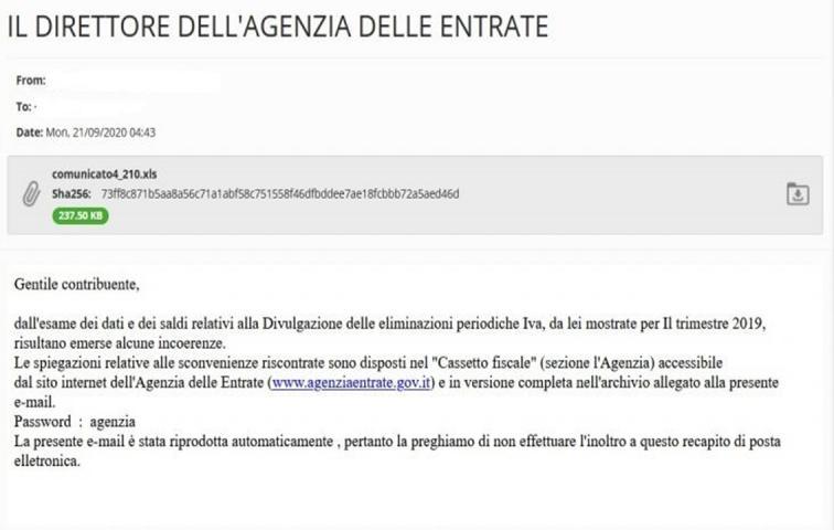 immagine della mail con tentativo di Phishing
