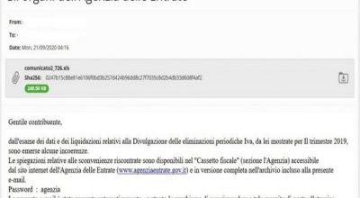 Nuovi tentativi di phishing, mail con virus, non cliccare