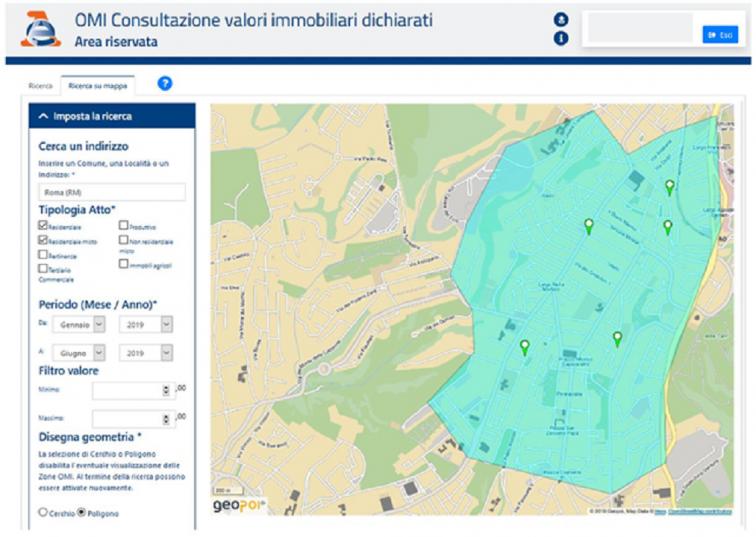 foto della schermata con la ricerca per area