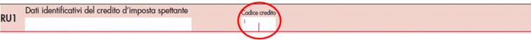 immagine del modello Redditi SC 2021- rigo RU 1 utilizzo crediti