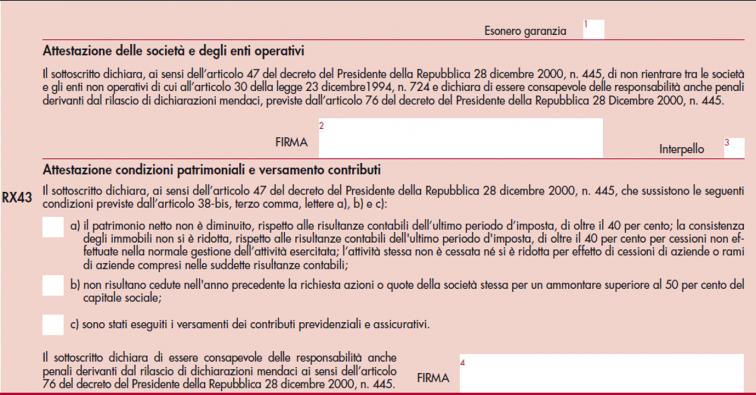 immagine del modello Redditi SC 2021- quadro RX, sezioni II e III