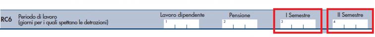 modello redditi PF 2021- rigo RC6 I e II semestre