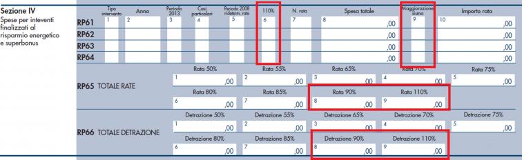 modello redditi PF 2021- sezione IV, righi da RP61 a RP66