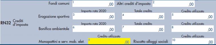 modello redditi PF 2021- rigo RN32, colonna 9
